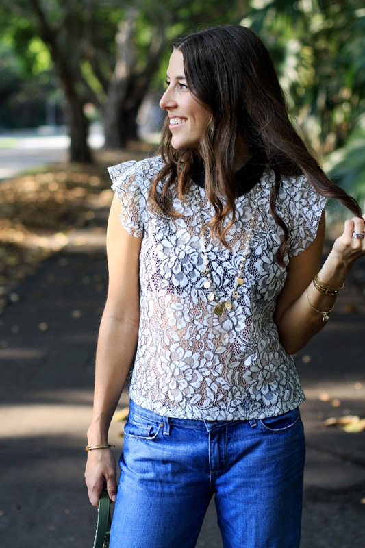 Lace Top with a Collar + Boyfriend Jeans 4