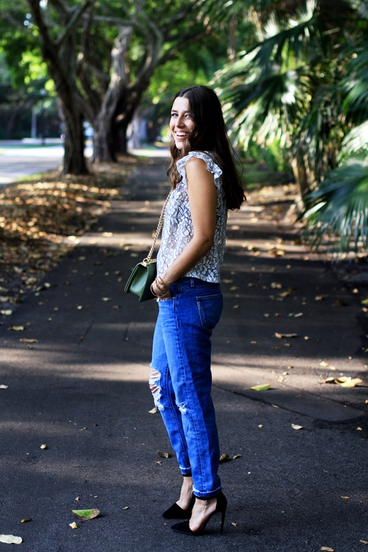 Lace Top with a Collar + Boyfriend Jeans