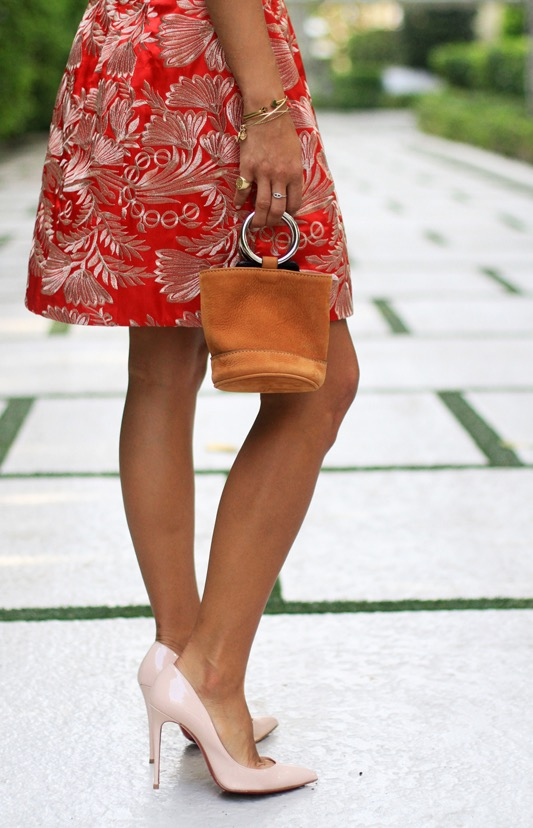 Little Red Dress in Vintage Embroidery by Mestiza New York Bag & Shoe Detail