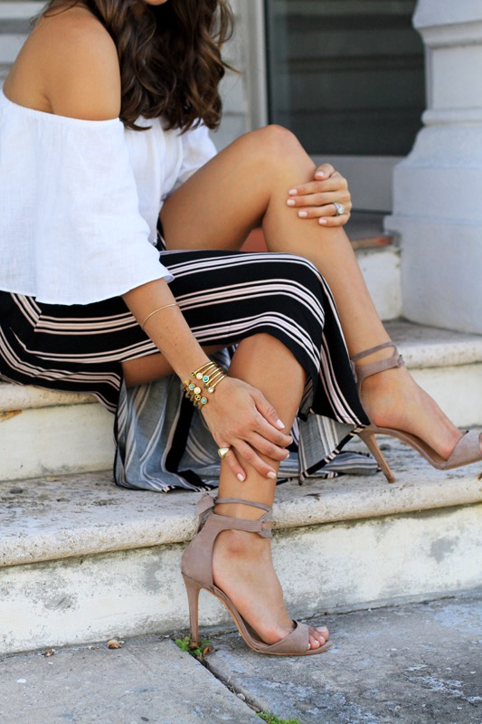 Striped Maxi Skirt + Off the Shoulder Crop 5