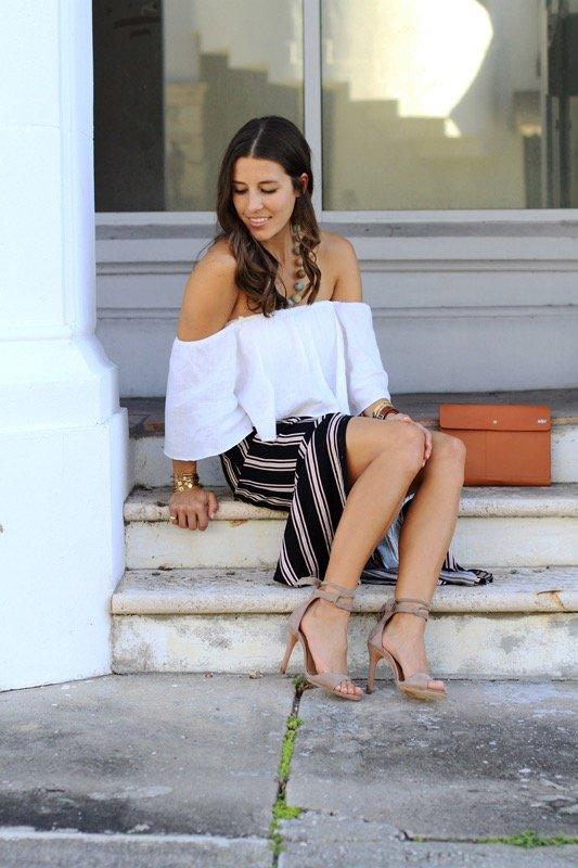 Striped Maxi Skirt + Off the Shoulder Crop 2