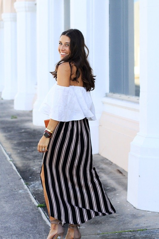 Striped Maxi Skirt + Off the Shoulder Crop 1