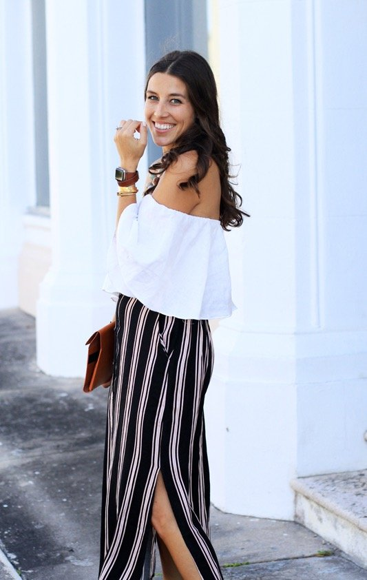 Striped Maxi Skirt + Off the Shoulder Crop 7