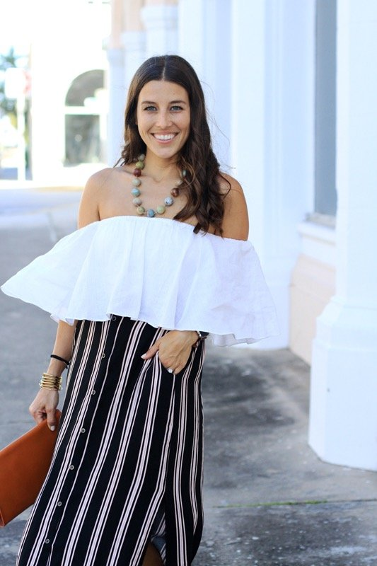 Striped Maxi Skirt + Off the Shoulder Crop 4