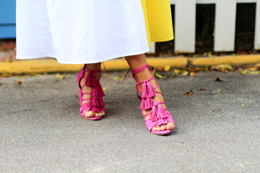 Color Block with Mara Hoffman & Pink Heels