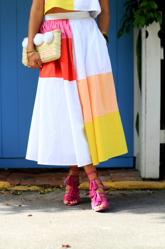 Color Block with Mara Hoffman + Pink Heels