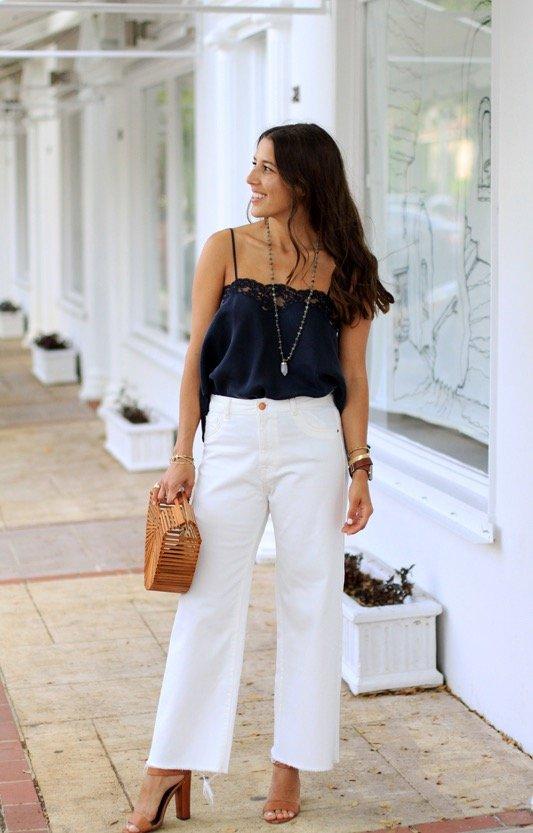 Lace Tank & Wide Leg Jeans 1