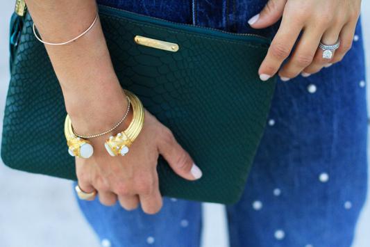 Pearl Jeans & Palm Print Slides + gigi new york