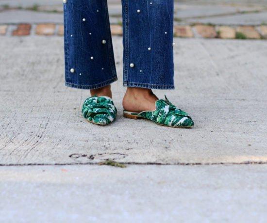 Pearl Jeans & Palm Print Slides