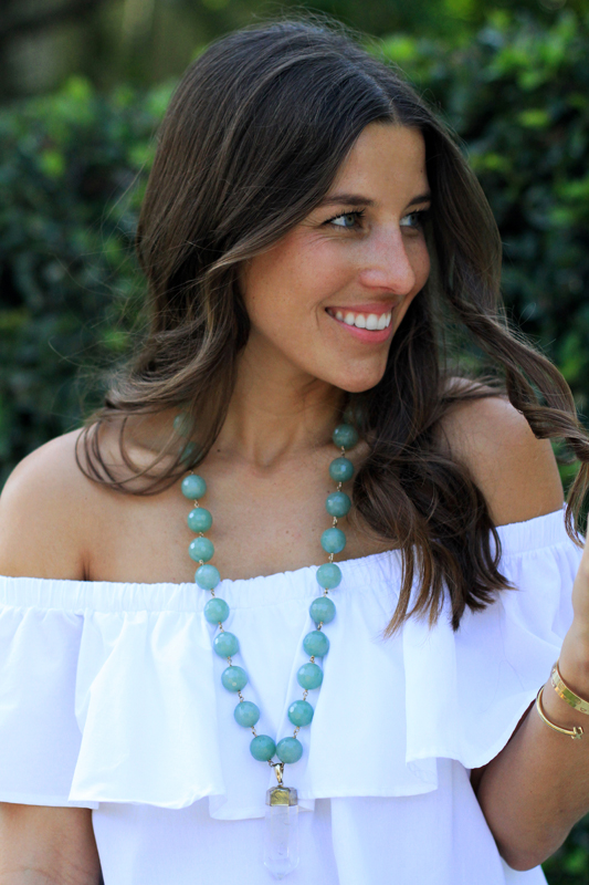 Pearl Jeans & Palm Print Slides + green necklace