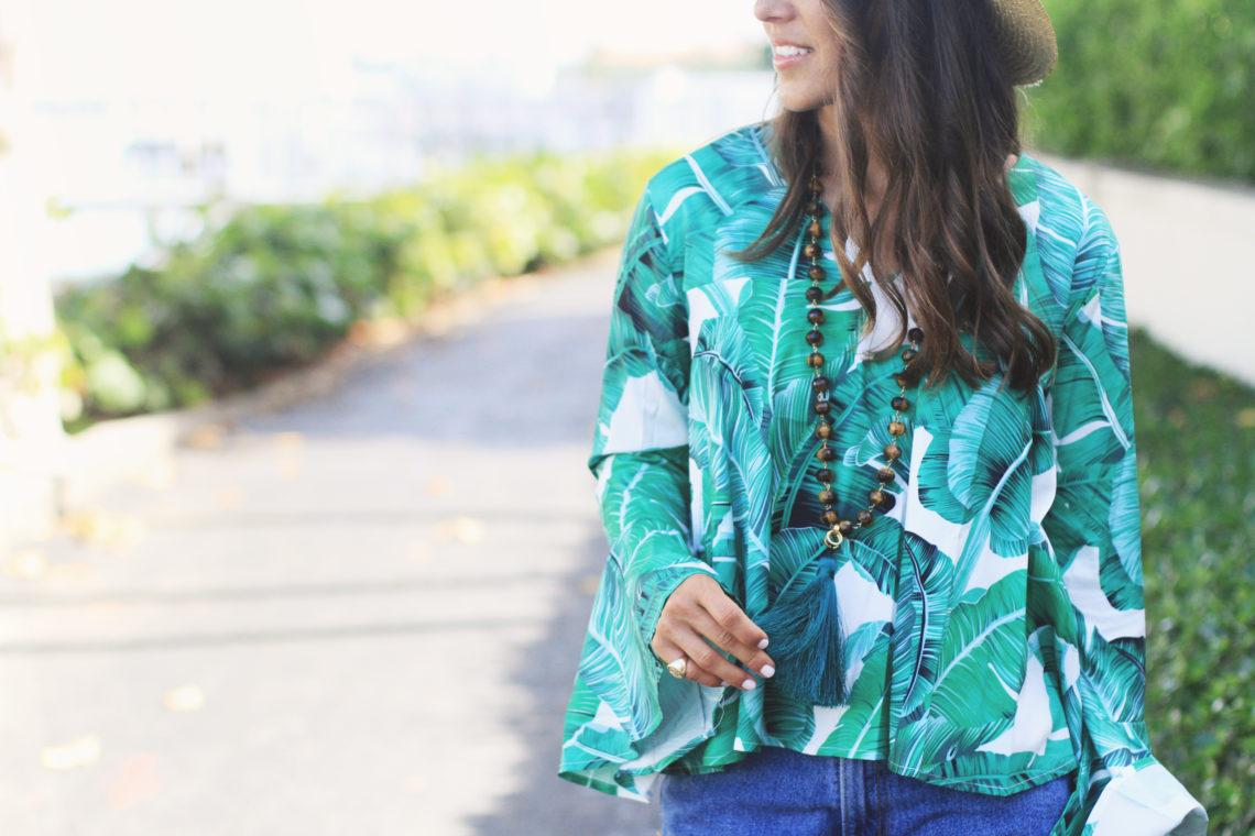 Palm Print Top & Denim Shorts