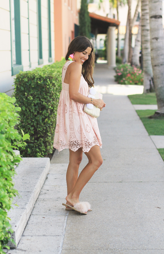 Peach Dress, Furry Slides, & Neon Tassel Earrings full look