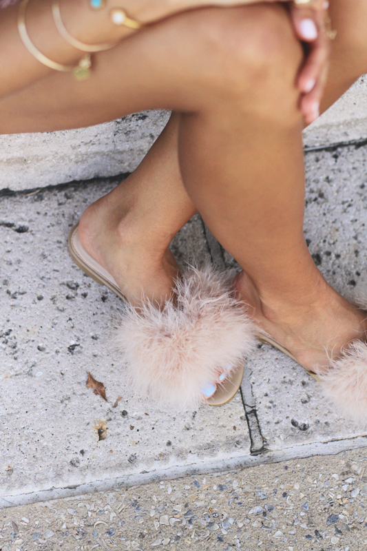 Peach Dress, Furry Slides, & Neon Tassel Earrings Shoes