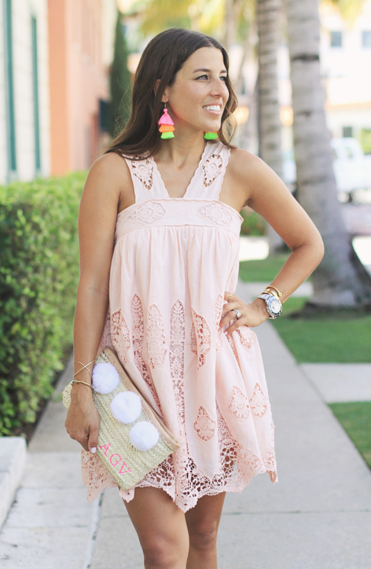 Peach Dress, Furry Slides, & Neon Tassel Earrings Summer Dress