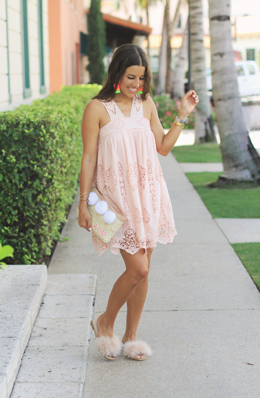 Peach Dress, Furry Slides, & Neon Tassel Earrings 2