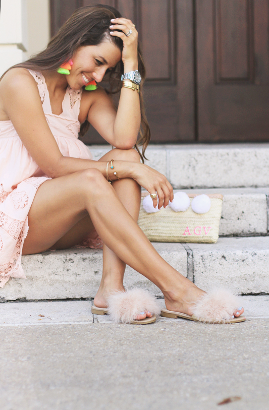 Peach Dress, Furry Slides, & Neon Tassel Earrings 1