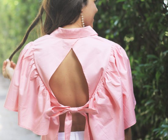 Pink Open Back Blouse & White Ripped Denim 9