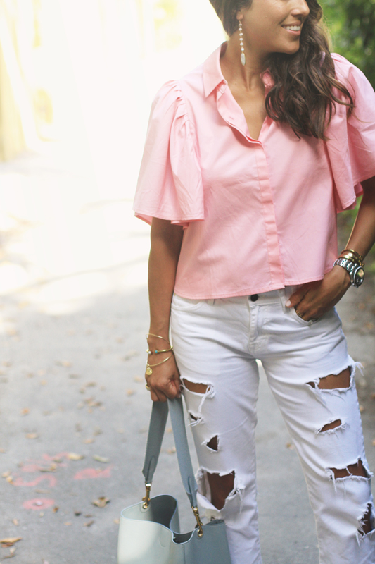 Pink Open Back Blouse & White Ripped Denim
