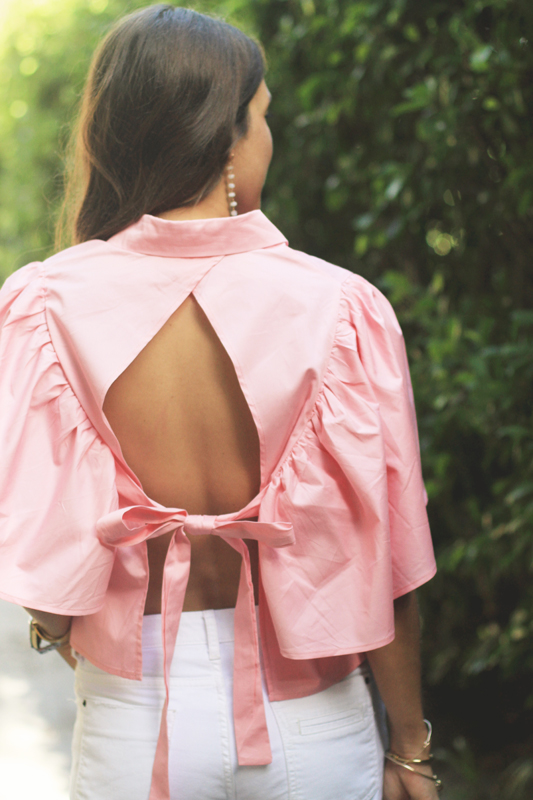 Pink Open Back Blouse & White Ripped Denim 7