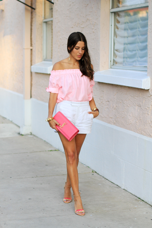Pink Top, White Shorts & Fun Sandals 3