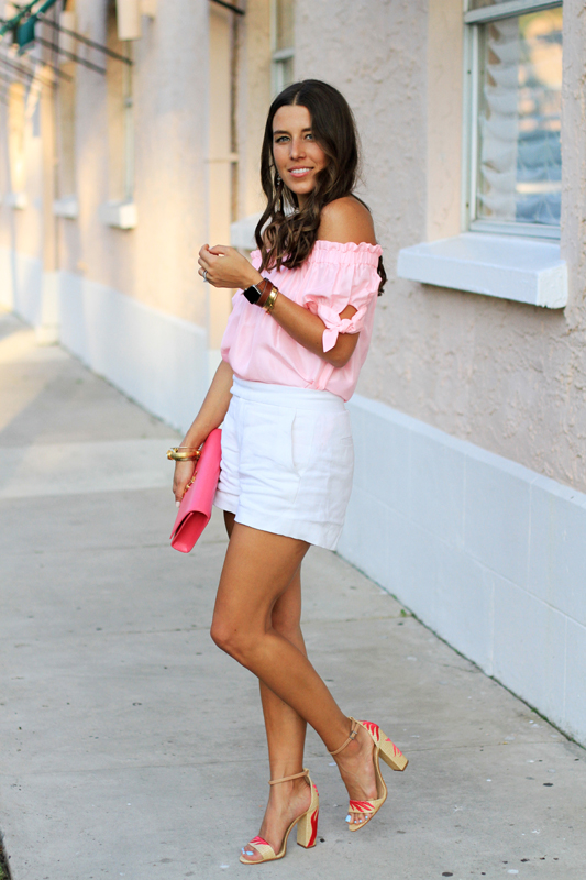 Pink Top, White Shorts & Fun Sandals 1