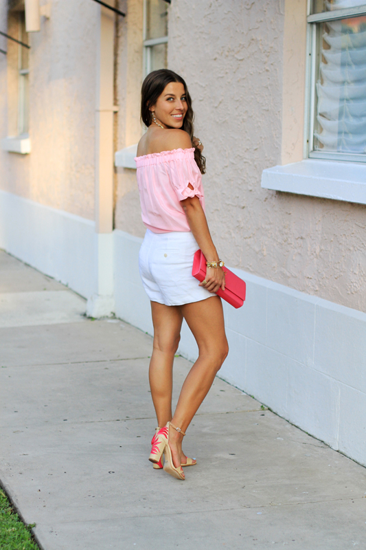 Pink Top, White Shorts & Fun Sandals 6