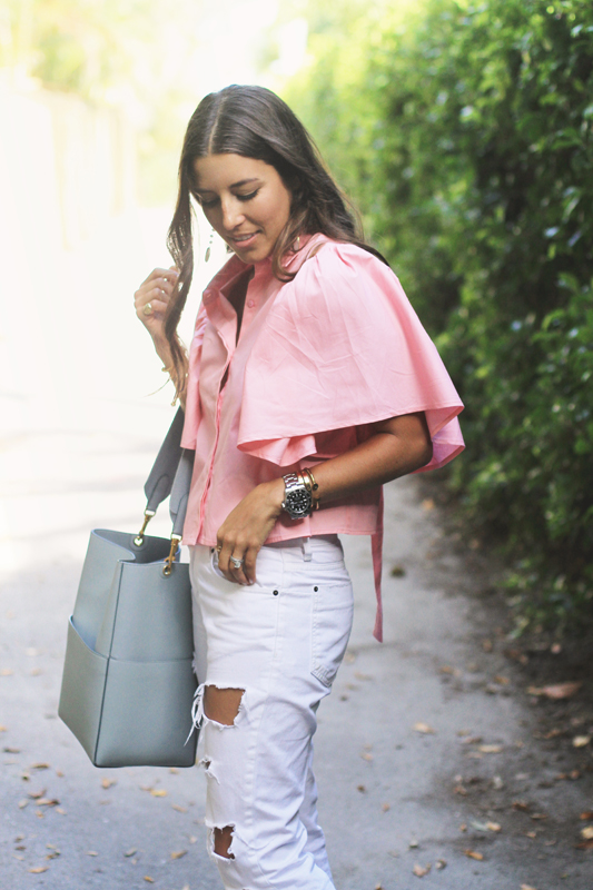 Pink Open Back Blouse & White Ripped Denim 5