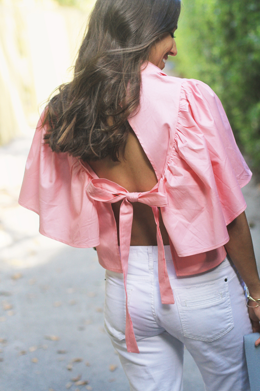 Pink Open Back Blouse & White Ripped Denim 1