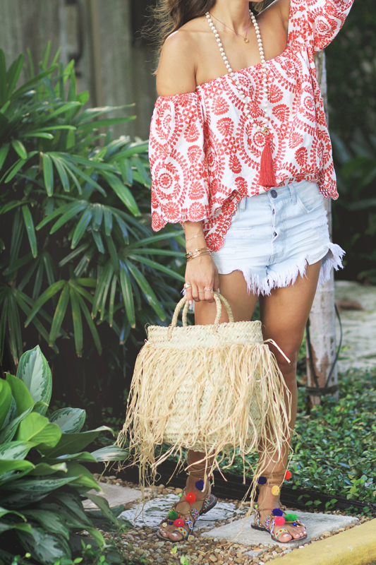Red Embroidered Top, Denim Shorts, & Pom Pom Sandals 2