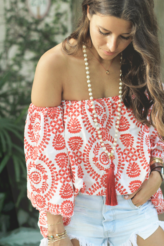 Red Embroidered Top, Denim Shorts, & Pom Pom Sandals 3