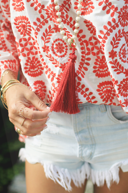 Red Embroidered Top, Denim Shorts, & Pom Pom Sandals 7