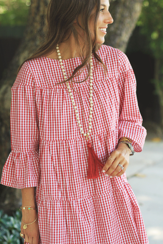 Red Gingham Day Dress Tassel Necklace