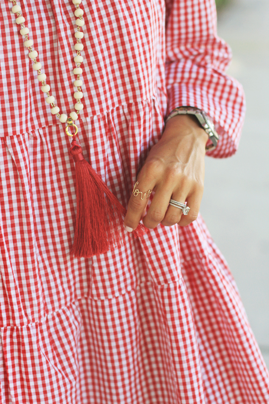 Red Gingham Day Dress Necklace Details