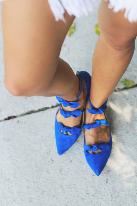 Gingham Ruffle Top & Blue Suede Shoes 2