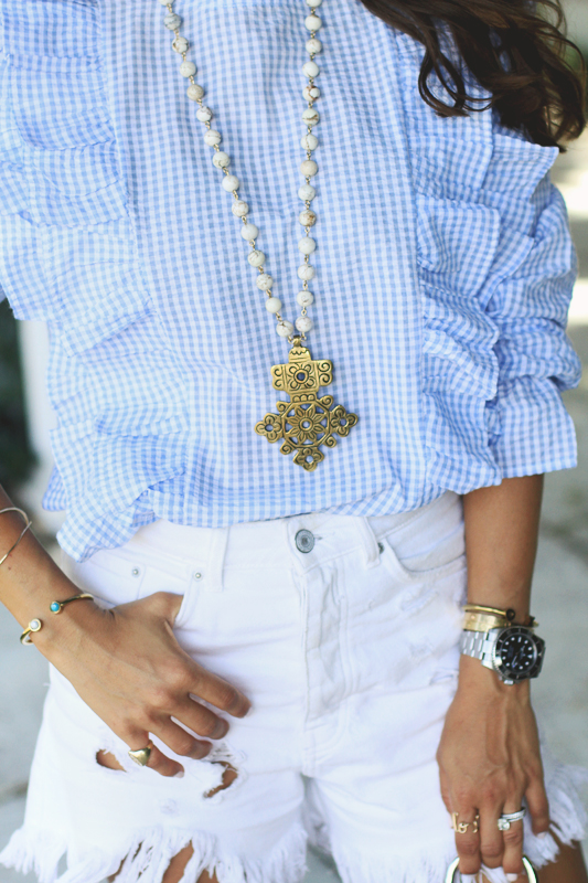 Gingham Ruffle Top & Blue Suede Shoes 3