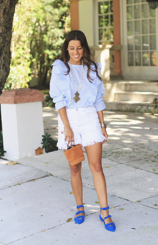 Gingham Ruffle Top & Blue Suede Shoes 1