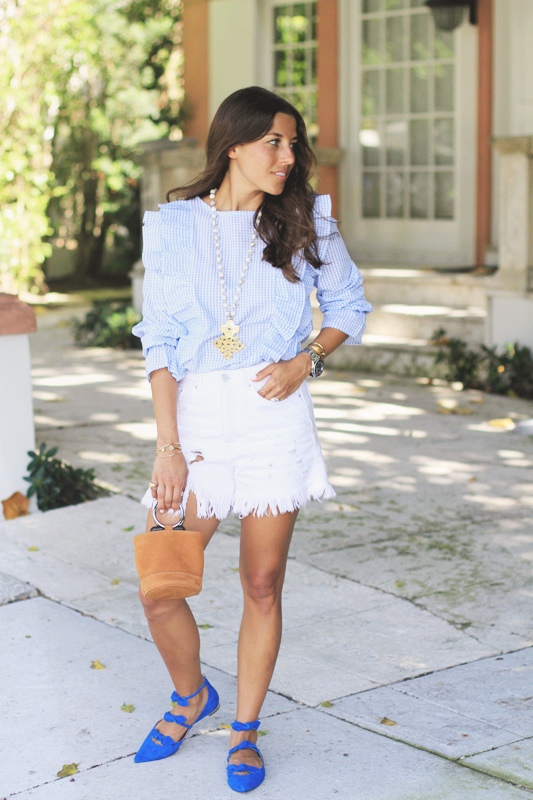 Gingham Ruffle Top & Blue Suede Shoes 5