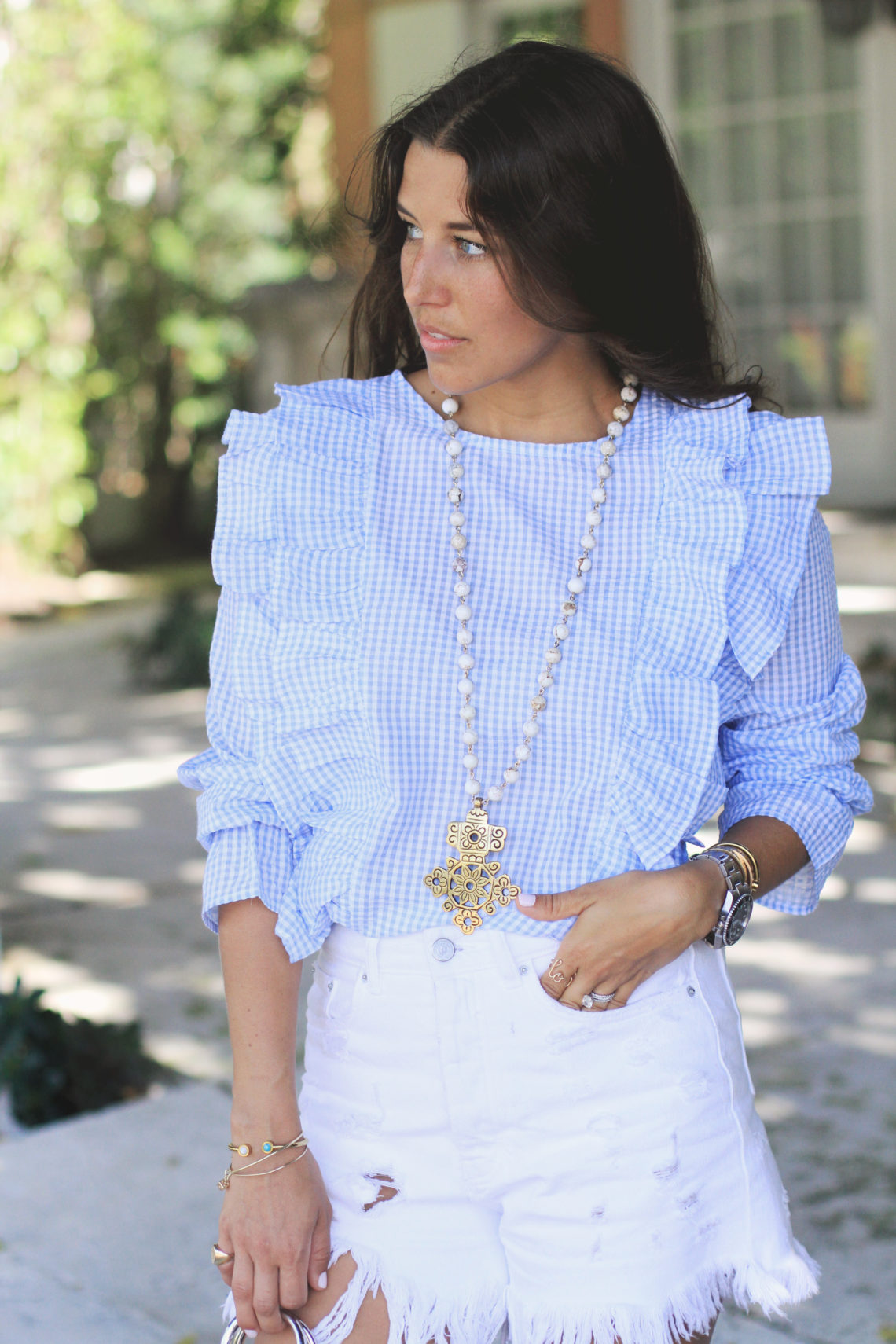 Gingham Ruffle Top & Blue Suede Shoes