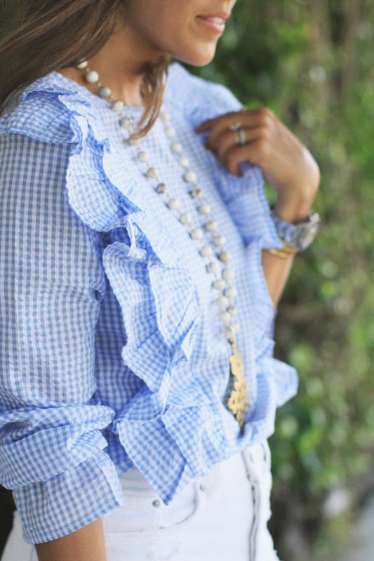 Gingham Ruffle Top & Blue Suede Shoes 9