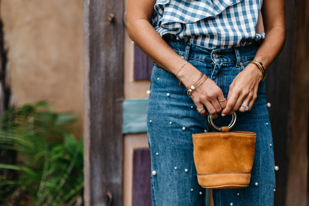 Gingham One Shoulder - Bag detail