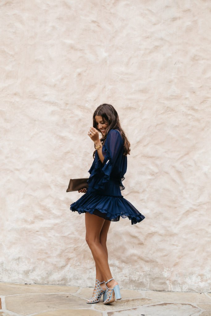 Navy Dress with Tassels - Twirling