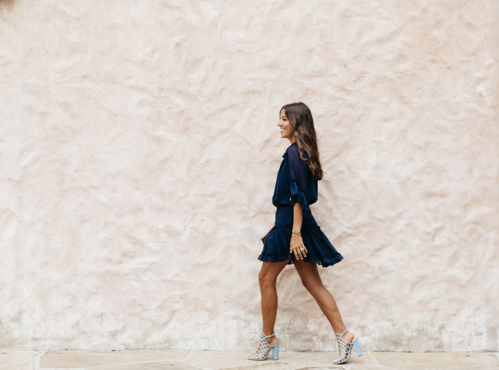Navy Dress with Tassels & Movement