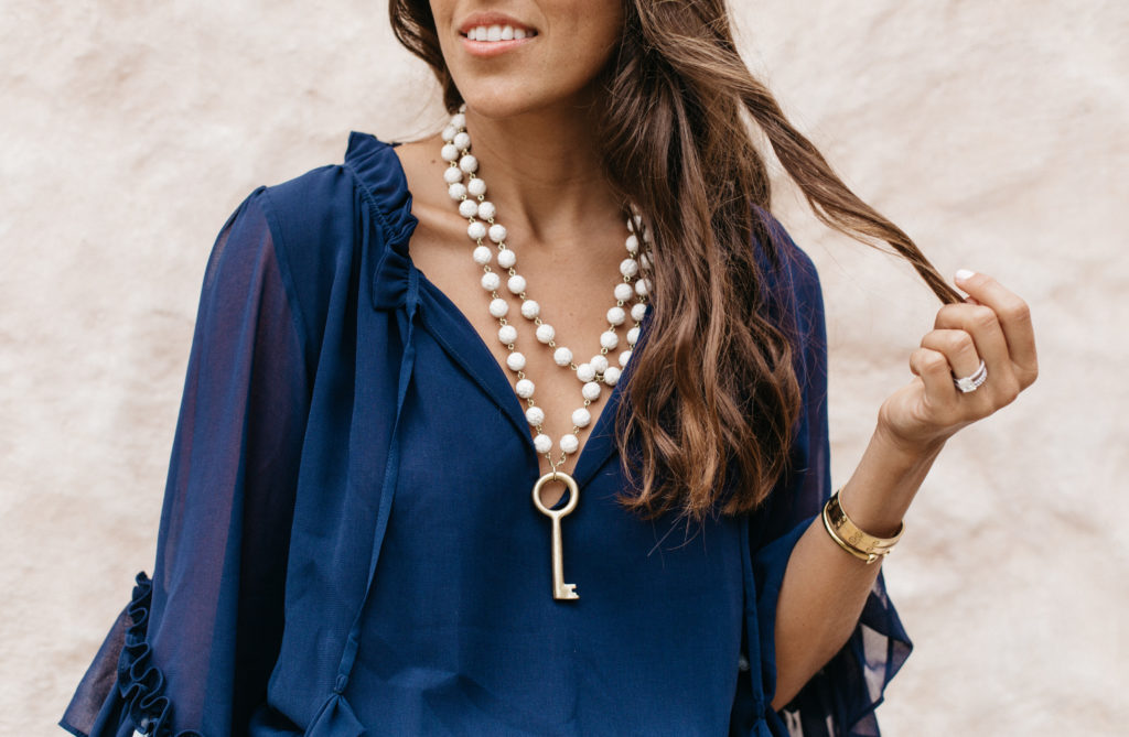Navy Dress with Tassels & Very Allegra Necklace