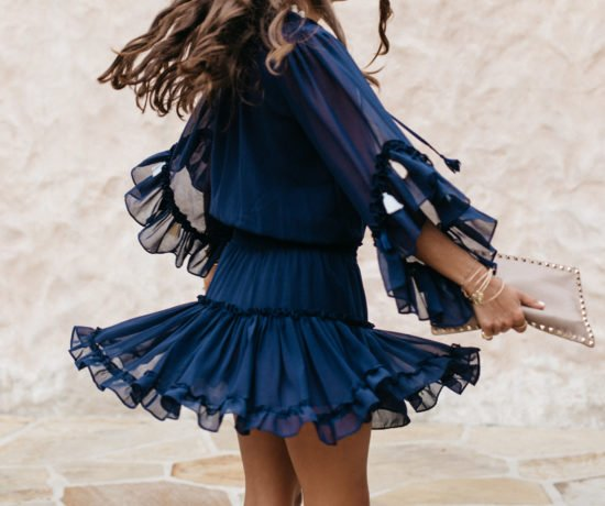 Navy Dress with Tassels 1