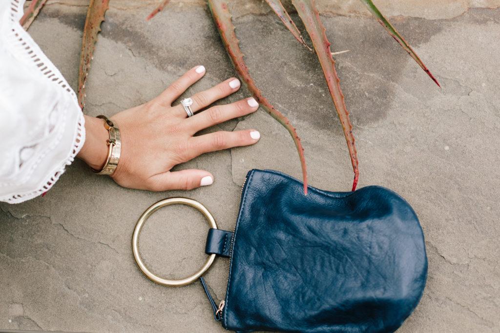White Eyelet Ruffles with Ring Bag