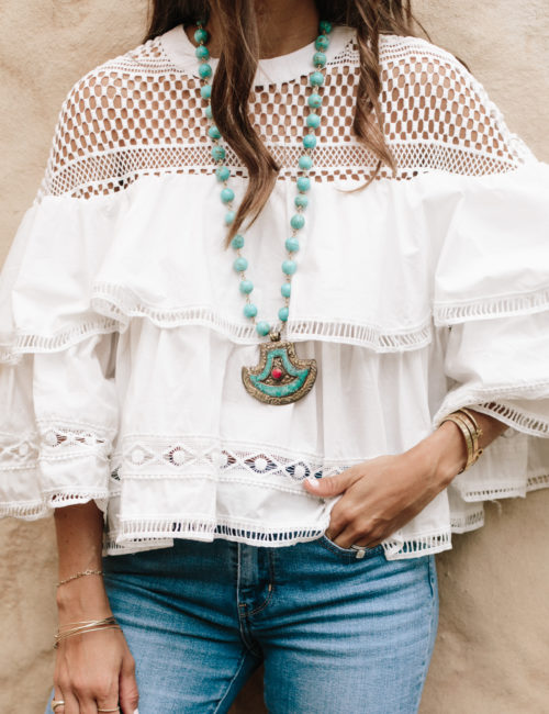 White Eyelet Ruffles + Turquoise Necklace