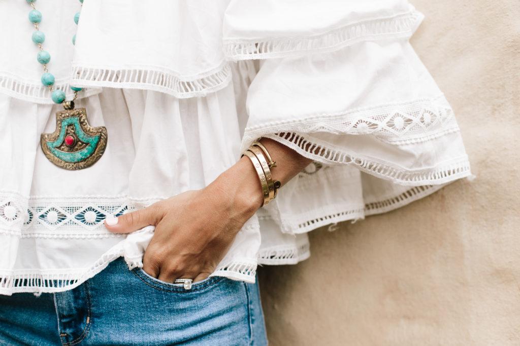 White Eyelet Ruffles bracelet details