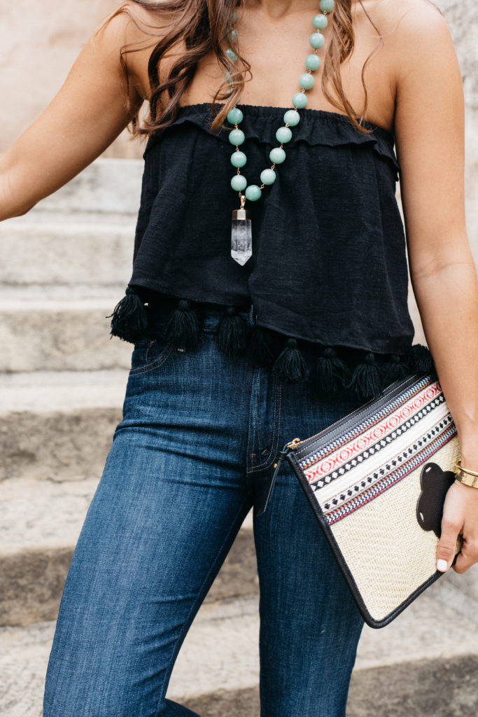 Current Fave Jeans & Crystal Necklace