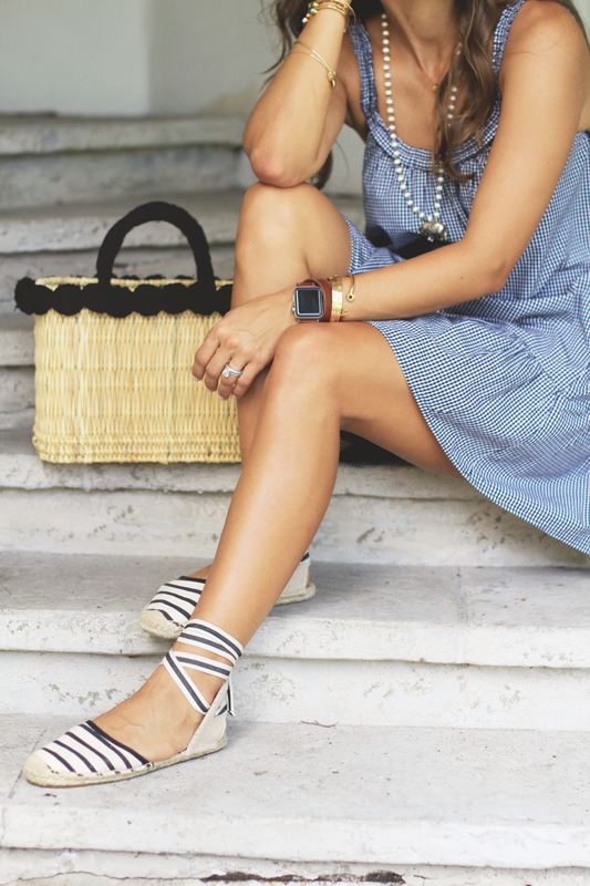 More Gingham, Lace Up Espadrilles, & Straw Basket