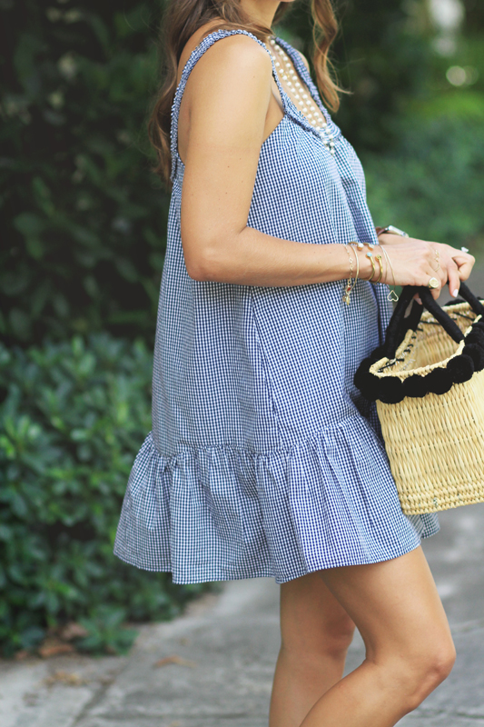 More Gingham, Espadrilles, & Straw Basket with Pom Poms
